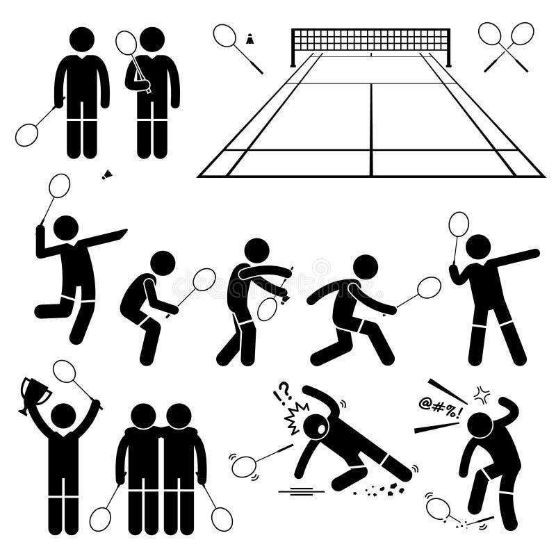 Badmintonspelarehandlingar poserar Cliparts royaltyfri illustrationer