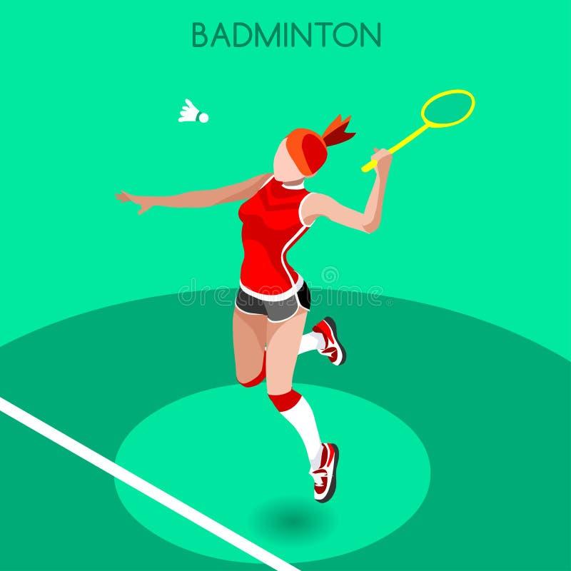 Badmintonspelaresommar spelar symbolsuppsättningen isometrisk spelare för badminton 3D Internationell badmintonkonkurrens för spo royaltyfri illustrationer