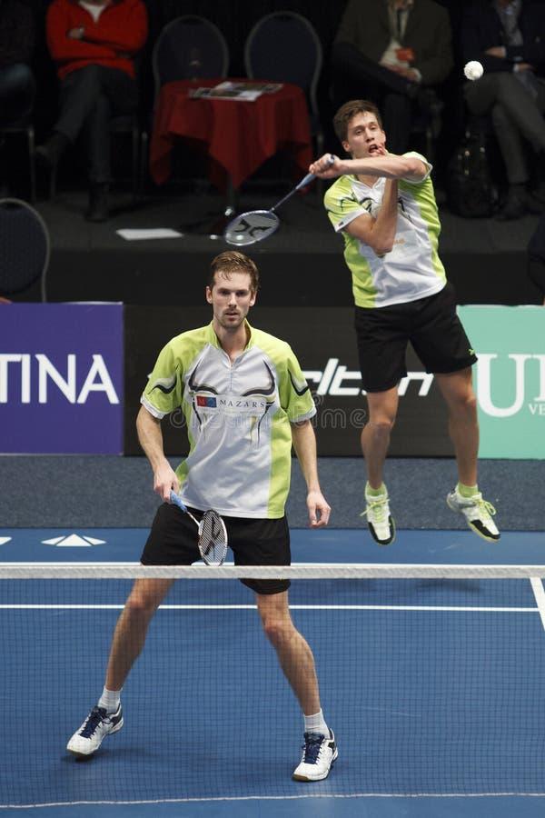 Badmintonspelers Koen Ridder en Ruud Bosch royalty-vrije stock foto's