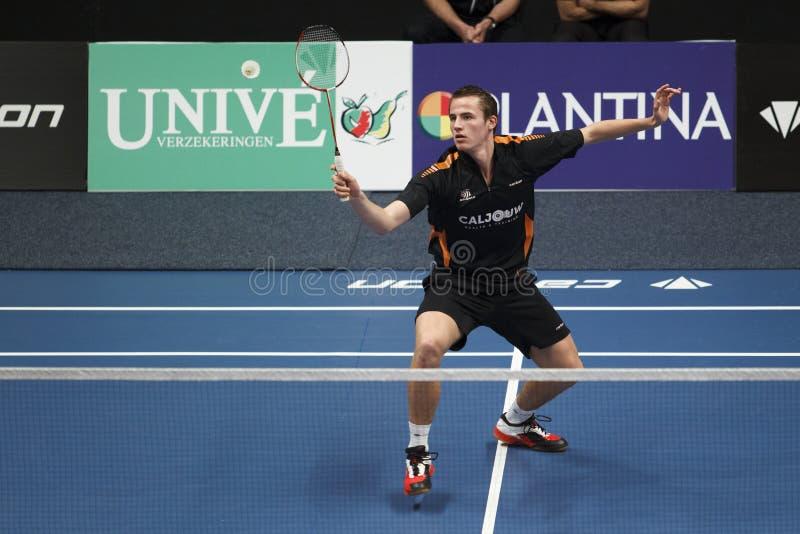 Badmintonspieler Mark Caljouw lizenzfreie stockfotografie
