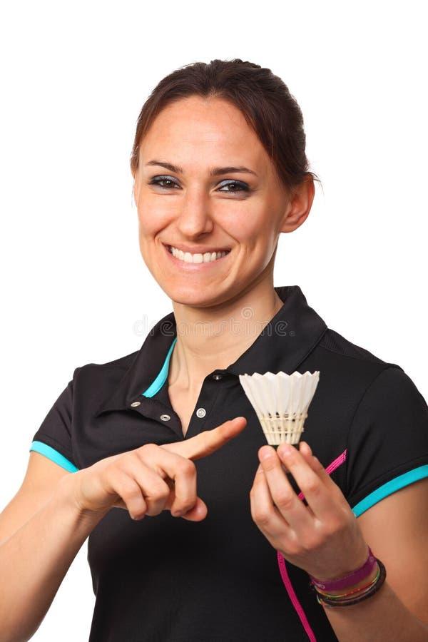 Badmintonspielerportrait stockfoto
