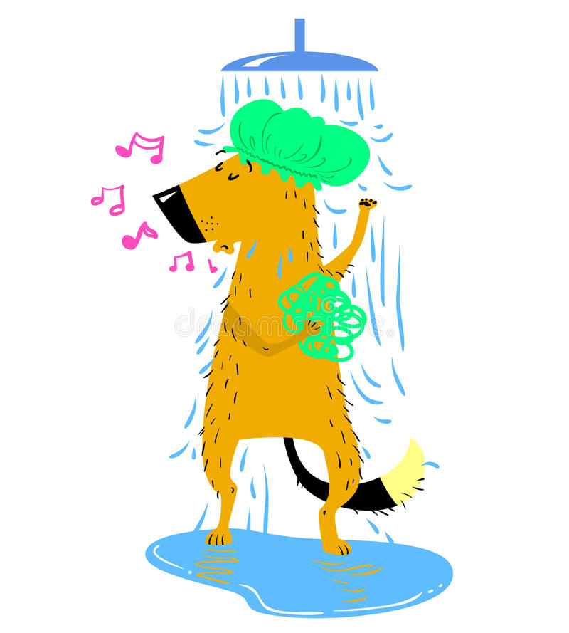 Badninghund Den gulliga hunden tar en dusch vektor illustrationer