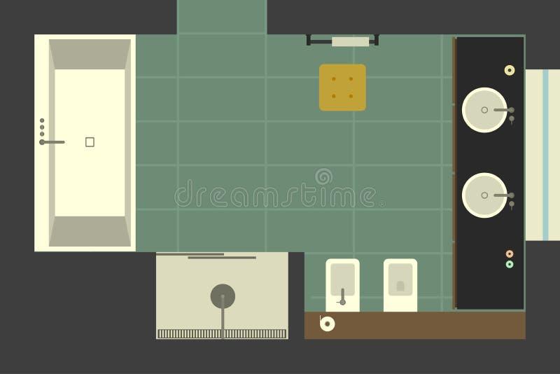 Badrum i plan stil, bästa sikt royaltyfri illustrationer