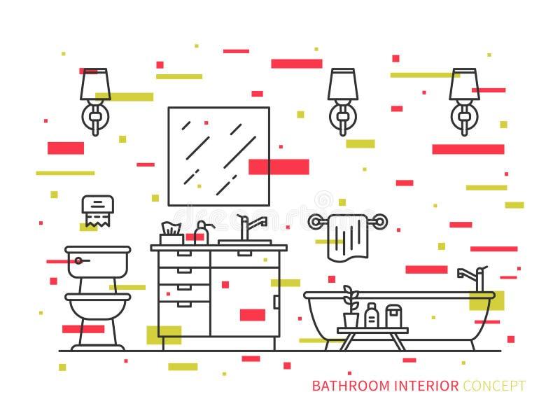 Badrum med badkarvektorlinjen konstillustration vektor illustrationer
