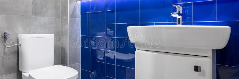 Badrum med blåa glansiga tegelplattor arkivfoto