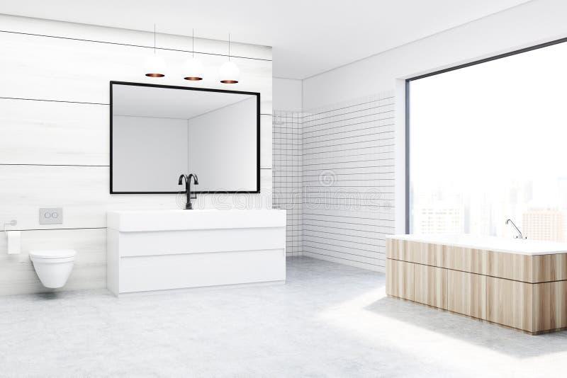 Badrum med en toalett och en vask, vit vektor illustrationer
