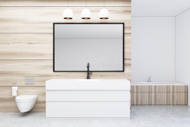 Badrum med toaletten och vasken, spegel stock illustrationer