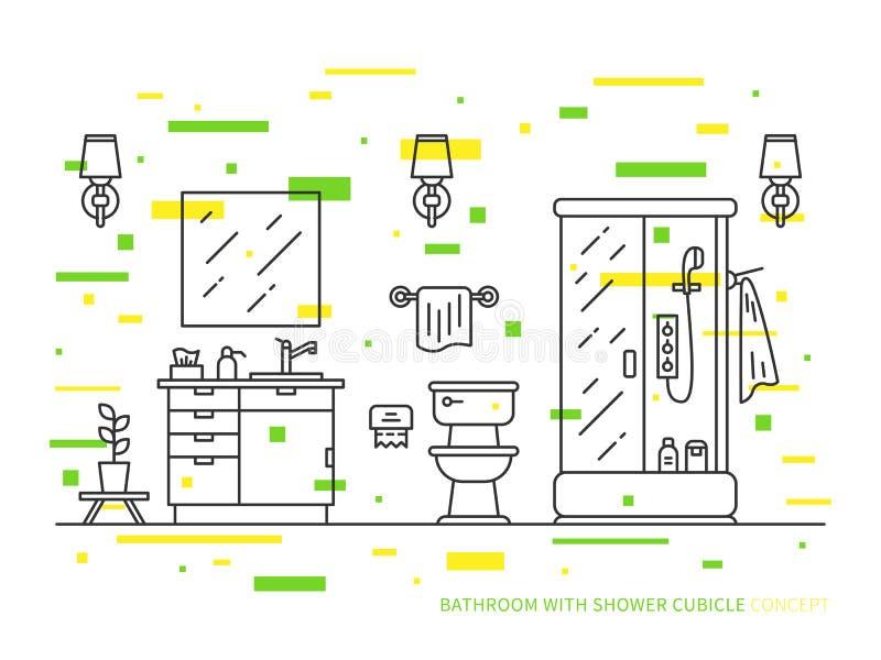 Badrum med vasken, bunke, duschvektorlinje konstillustration royaltyfri illustrationer