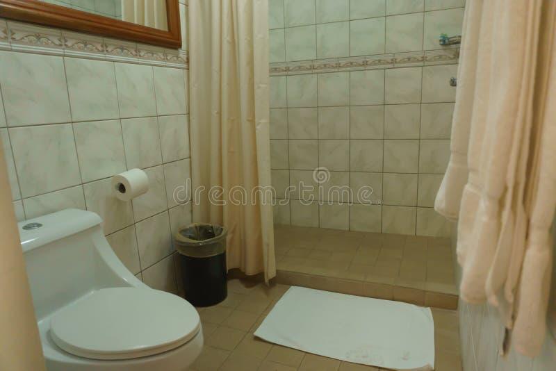 Badrum och dusch i hotell arkivbilder