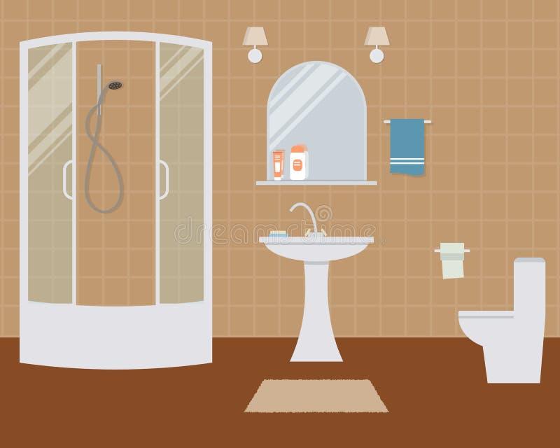 Badrum och toalett stock illustrationer