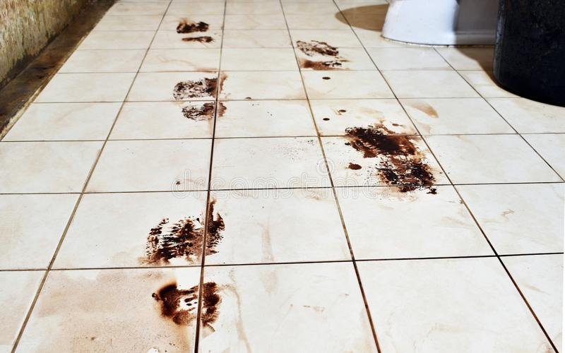 Badrum som är smutsigt från att gå på hans skor i på tegelplattorna arkivfoto