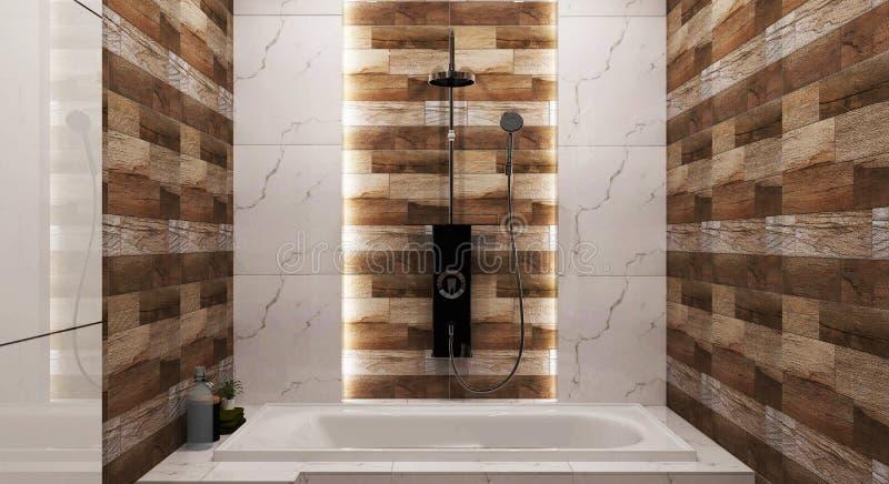 Badrumbadar trätegelplatta- och granittegelplattadesignen med och en dusch framf?rande 3d vektor illustrationer
