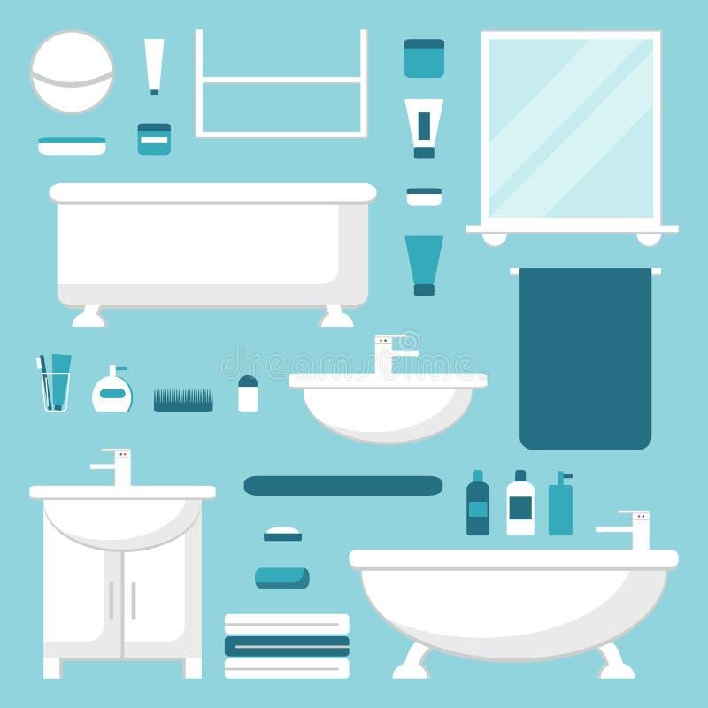 Badrumbeståndsdeluppsättning Isolerat badrummöblemang stock illustrationer