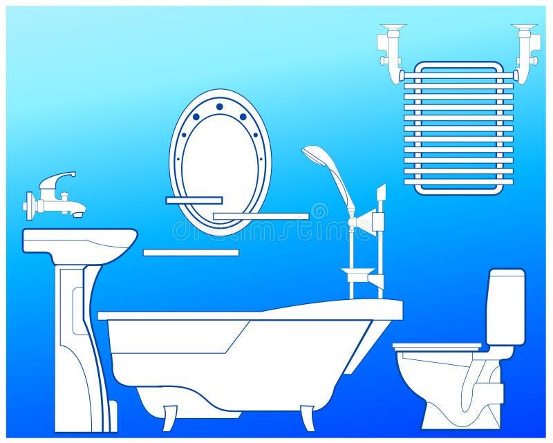 badrumblue vektor illustrationer