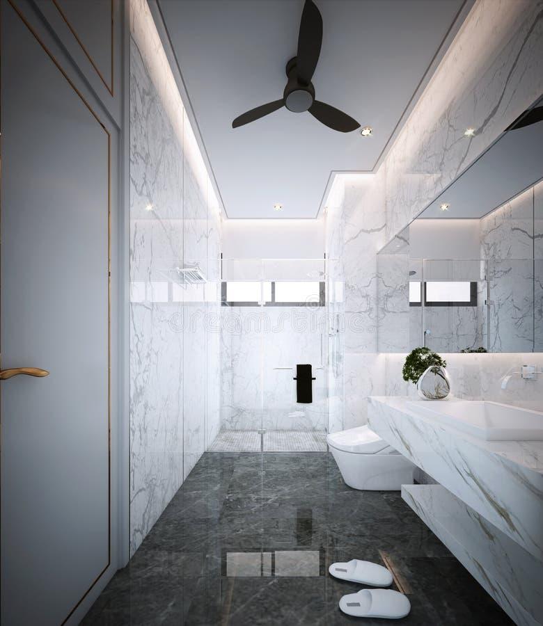 Badrumdesign, inre av modern lyxig stil arkivbilder