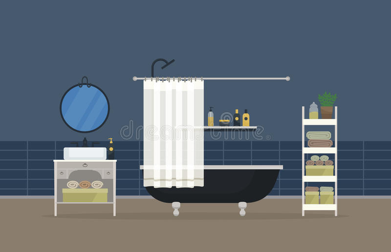 Badruminre, hem- rum för hygien Sjunka med vattenkranen och spegeln, badrummet med duschhuvudet och ventilen, hand vektor illustrationer