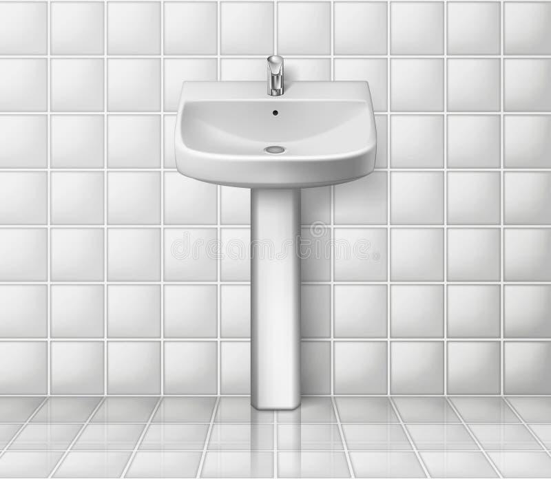 Badruminre med den vita vasken Realistisk tvättbalja Isolerad badrumvaskmodell också vektor för coreldrawillustration vektor illustrationer