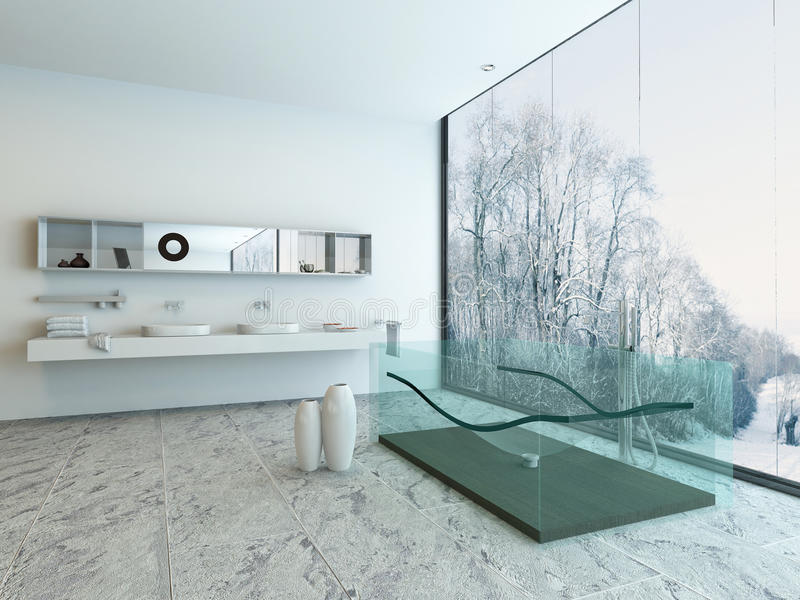 Badruminre med det dubbla handfat- och exponeringsglasbadkaret stock illustrationer