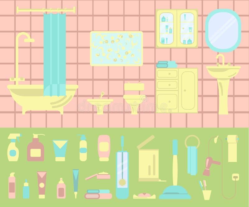 Badruminre och uppsättning av badsymboler royaltyfri illustrationer