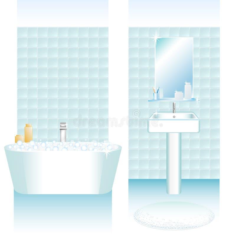 Badruminre ställde in med bathtube- och washvasken Väggar med tegelplattor Blåa och vita färger vektor illustrationer