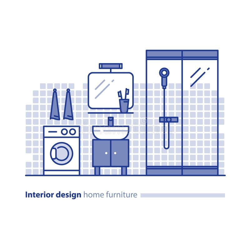 Badrummöblemanglösning, inredesignprojekt, hemförbättringidé royaltyfri illustrationer