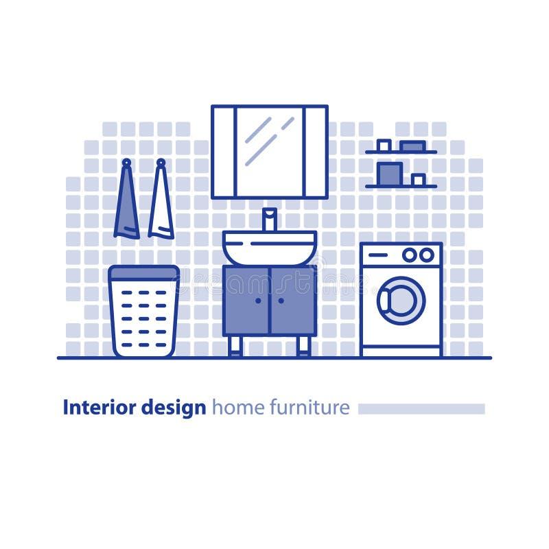 Badrummöblemanglösning, inredesignprojekt, hemförbättringidé, tvagningmaskin stock illustrationer