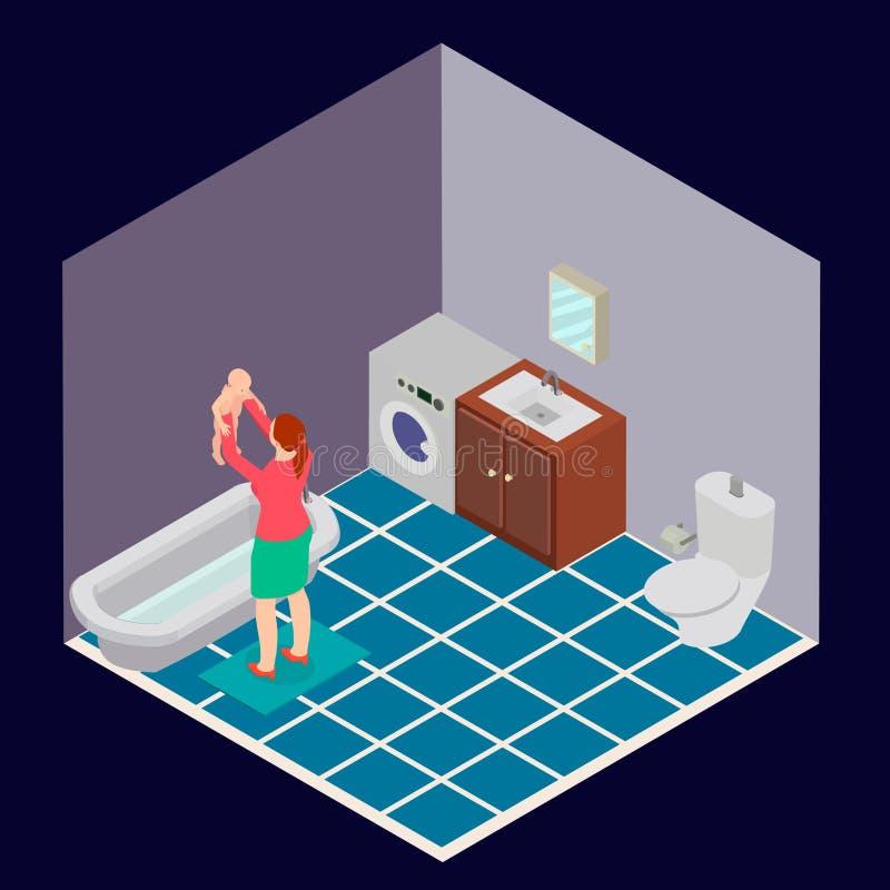 Badrummet är isometriskt med en kvinna och ett barn royaltyfri illustrationer
