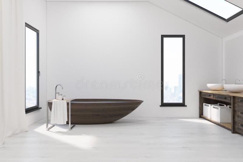 Badrummet i loft med trä badar vektor illustrationer