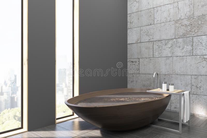 Badrummet med ett trä badar och stadssikt vektor illustrationer