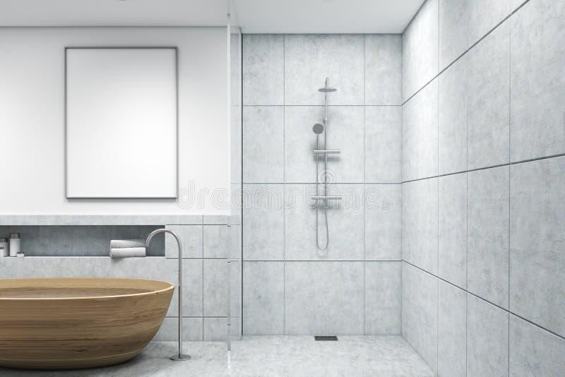 Badrummet med trä badar, den vertikala affischen vektor illustrationer