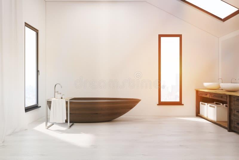 Badrummet med trä badar och två vaskar stock illustrationer