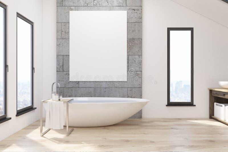 Badrummet med vit badar och affischen vektor illustrationer