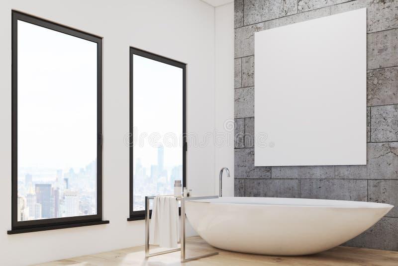 Badrummet med vit badar och affischen stock illustrationer