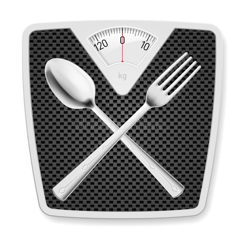Badrumvåg med gaffeln och skeden. royaltyfri illustrationer