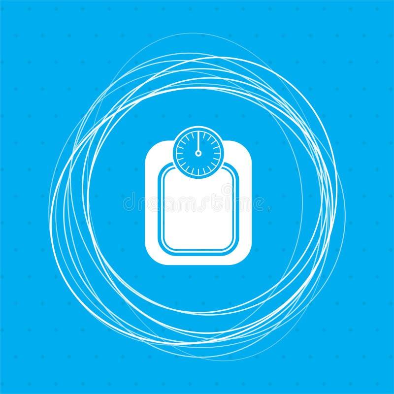 Badrumvåg som väger symbolen för kalorikilogramkg på en blå bakgrund med abstrakt begreppcirklar omkring och stället för din text royaltyfri illustrationer