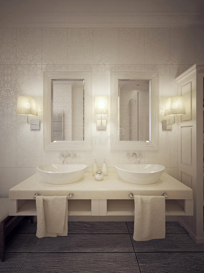 Badrumvasken tröstar modern stil royaltyfri bild