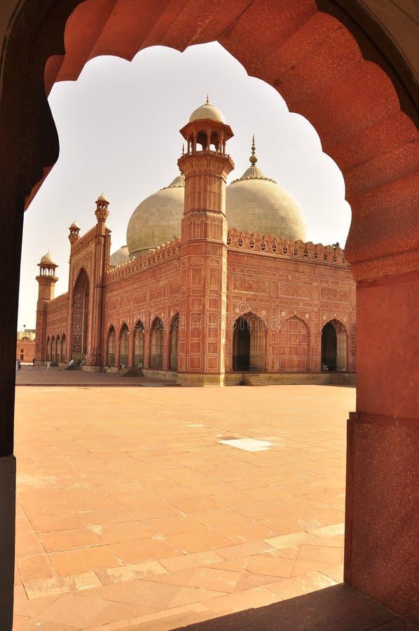Badshahi清真寺细节,拉合尔,巴基斯坦 免版税图库摄影