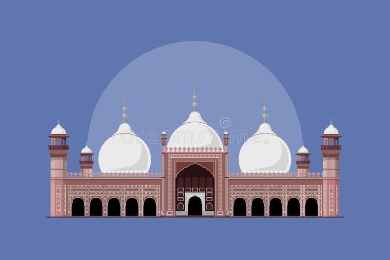 Badshahi Mosque - Landmark of Pakistan. Badshahi Mosque situated in Lahore one of the famous Historical Landmark of Pakistan situated in rural area of Lahore stock illustration