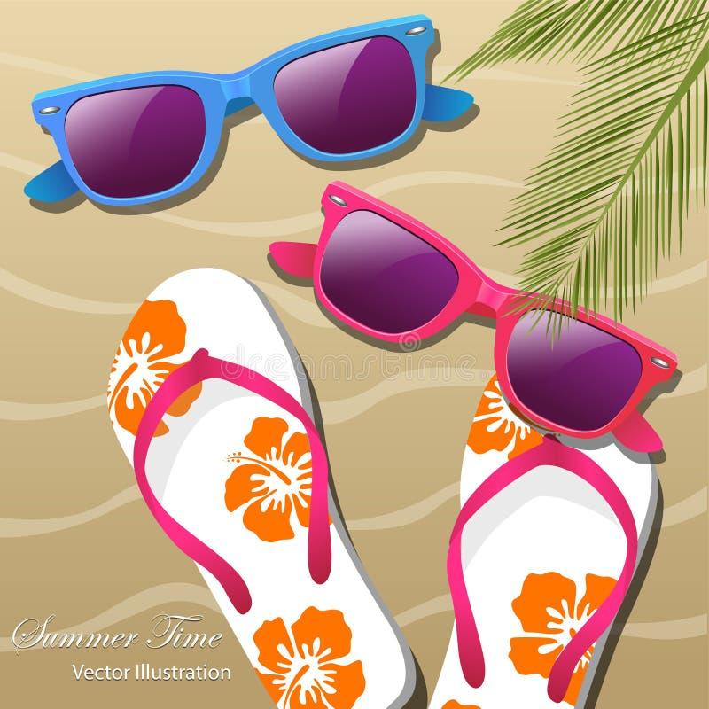 Badskor i sanden, solexponeringsglasen och palmbladen vektor illustrationer