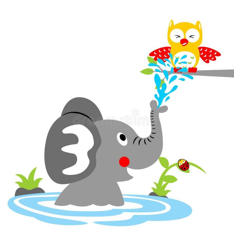 Badtijd met grappig dierenbeeldverhaal, vectorbeeldverhaalillustratie stock illustratie