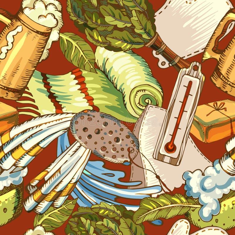 Badtoebehoren op een chaotische manier Russisch bad Finse sauna Naadloos patroon voor verpakkingsontwerp en stof voor vector illustratie