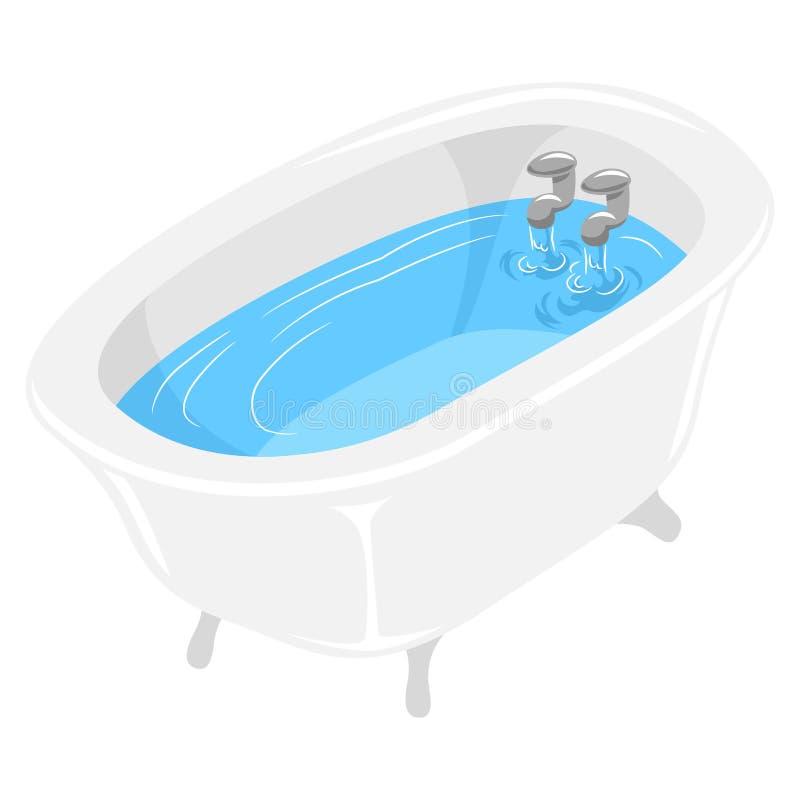 Badton met water wordt gevuld dat royalty-vrije illustratie