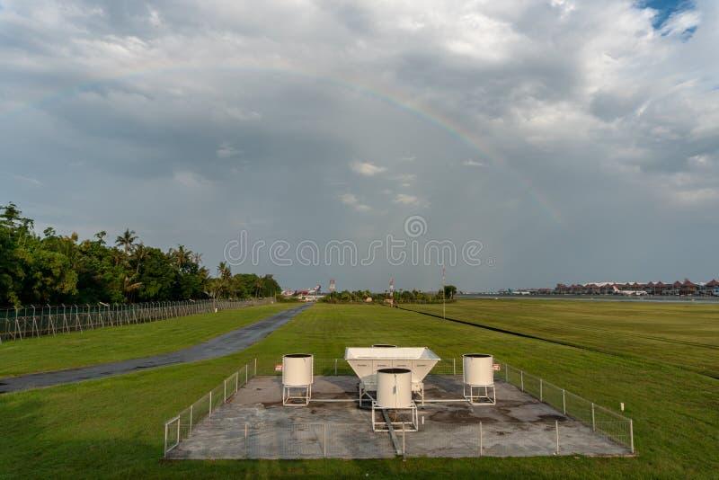 BADUNG, 10 BALI-APRIL 2019: Wind profiler hulpmiddelen bij de Internationale luchthaven Bali van Ngurah Rai Het heeft door scinte stock afbeeldingen