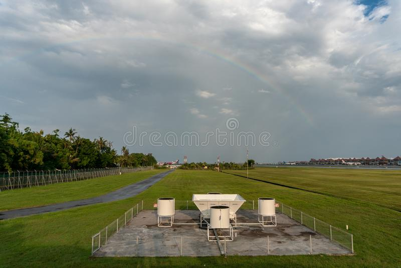 BADUNG, BALI 10 DE ABRIL DE 2019: Ferramentas do perfilador do vento no aeroporto internacional Bali de Ngurah Rai Fez pelo scint imagens de stock