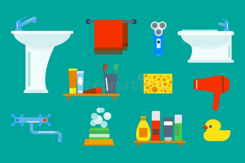 Badutrustningsymboler duschar framlänges för gemkonst för stil den färgrika illustrationen för design för badrumhygienvektor royaltyfri illustrationer