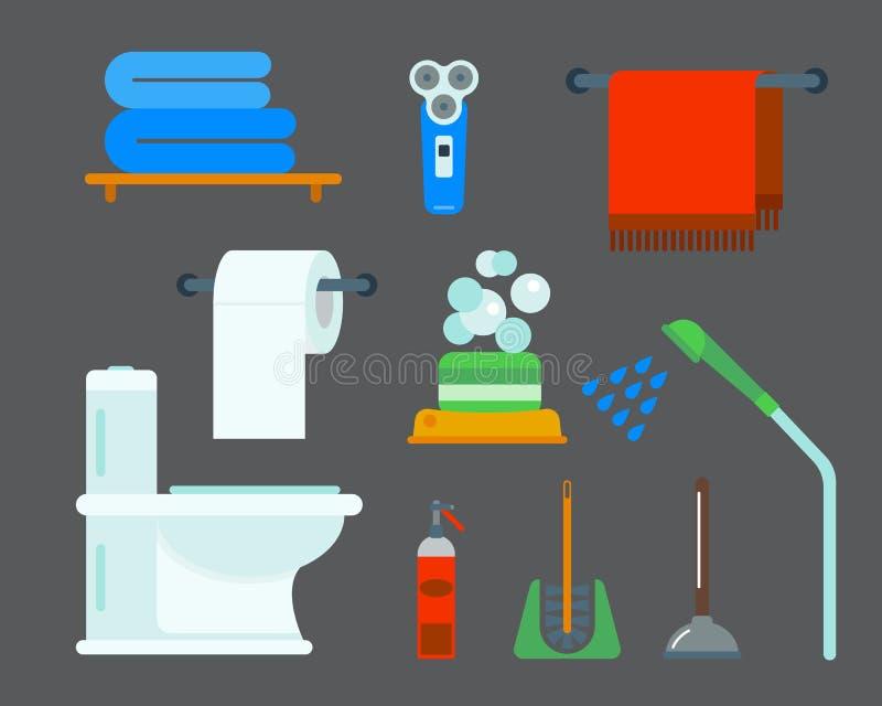 Badutrustningsymboler duschar framlänges för gemkonst för stil den färgrika illustrationen för design för badrumhygienvektor stock illustrationer
