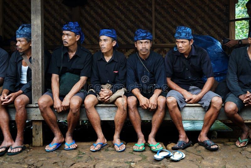 Baduy people do their activities in Kanekes village, Banten, Indonesia. Lebak Banten, West Java Indonesia - April 24, 2018 : Baduy people do their activities in stock photography