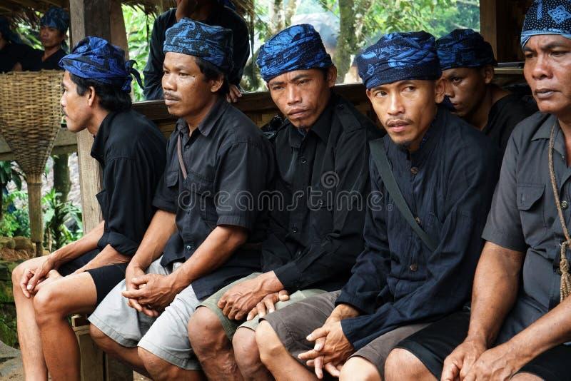 Baduy people do their activities in Kanekes village, Banten, Indonesia royalty free stock photo