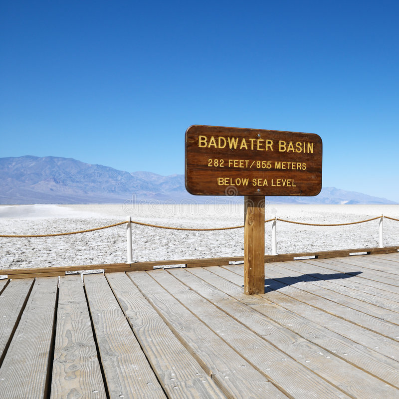 Badwater Basin in Death Valley. Badwater Basin sign in Death Valley National Park stock image