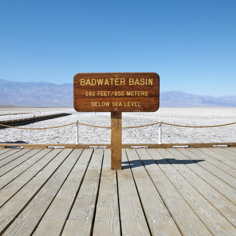 Badwater Basin in Death Valley. Badwater Basin sign in Death Valley National Park stock photography